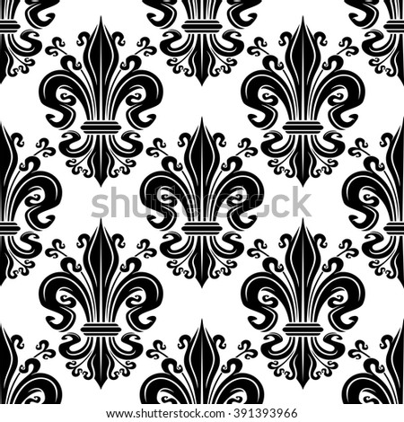 Black fleur-de-lis ornate seamless pattern of victorian leaf scrolls with ornamental swirling petals and curly tendrils on white background. Use as french royal concept or vintage interior design - stock vector