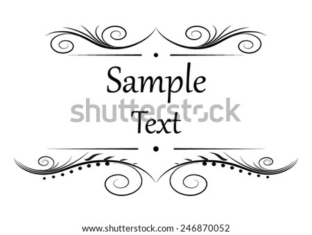 Black floral ornament with place for your text. Vector illustration - stock vector
