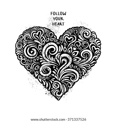 Black floral ornate in the shape of heart. Concept of love. Follow your heart. - stock vector