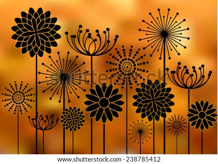 Black flowers silhouettes - stock vector