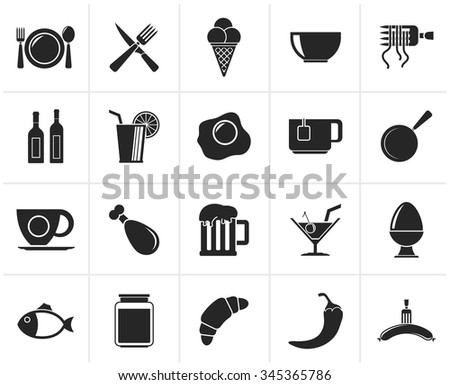 Black Food, drink and restaurant icons - vector icon set - stock vector