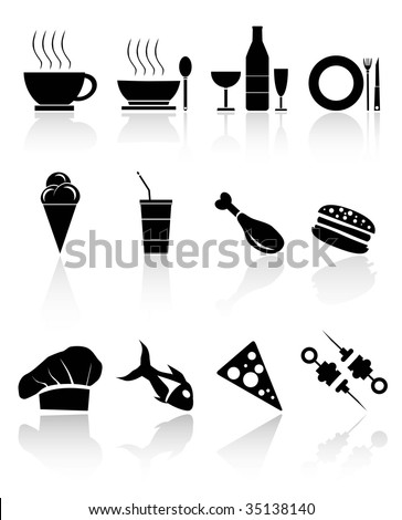 BLACK FOOD ICONS,Easy tot manipulate, resize or to edit - stock vector