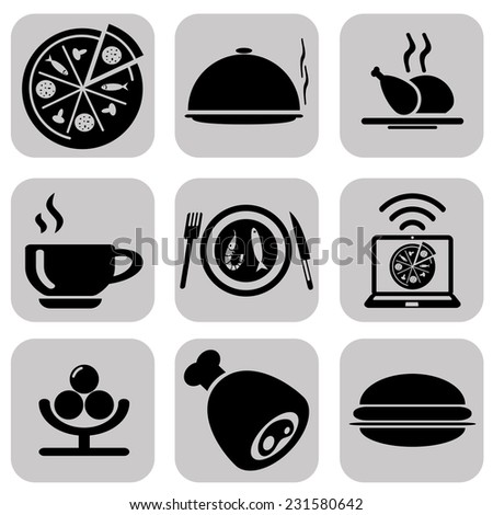 Black food icons set - stock vector