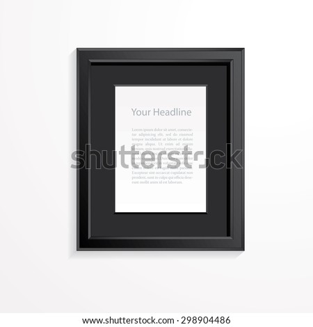 Black frame on wall vector background. - stock vector