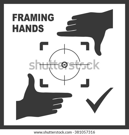 Black framing hands aim to something. Frame made from fingers nice fit for photo design. Vector perspective view illustration. - stock vector