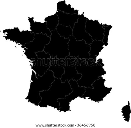 Black France map with region borders - stock vector