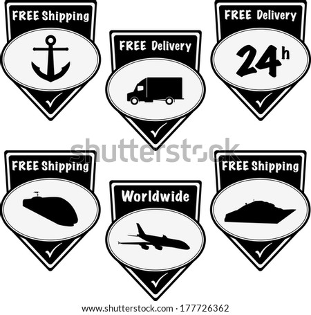 Black free delivery and shipping pointers. Vector - stock vector