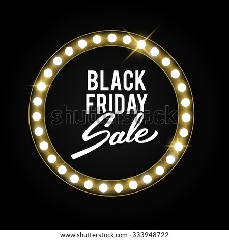 Black Friday advertising banner, gold retro shiny label with lights, vector illustration - stock vector