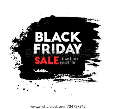 Black Friday Big Sale Title Text Banner Poster Wallpaper Ink
