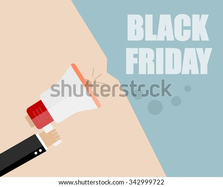black Friday. Businessman hand holding a megaphone, News and speech bubble, vector - stock vector