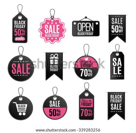 Black Friday icons and labels set Vector Illustration