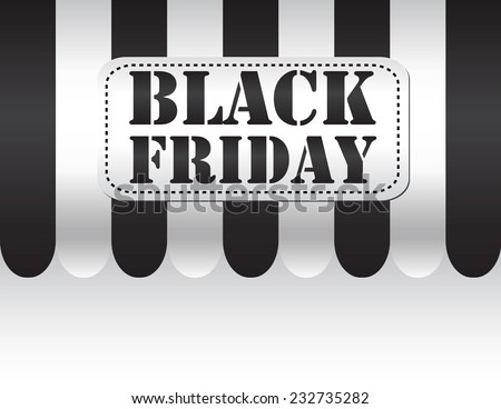 Black friday on black and white awning background - stock vector