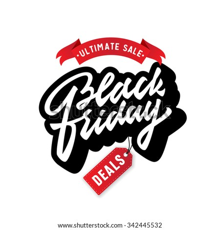 Black Friday. Promotional badge sign label symbol. Vintage Brush Script Lettering.Great way to spread the word about your business,special offers,discounts,deals,bargain etc. Vector Illustration. - stock vector