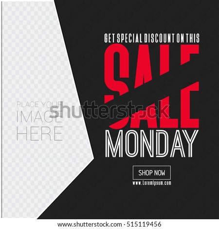 Black Friday Sale Ad Template. Place For Image. Vector Illustration  For Sale Ad Template