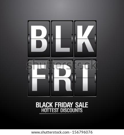 Black friday sale, analog flip clock design. - stock vector