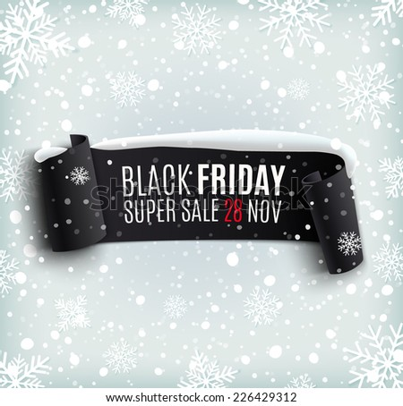 Black Friday sale background with black realistic ribbon banner and snow. Sale. Winter sale. Christmas sale. New year sale. Vector illustration - stock vector