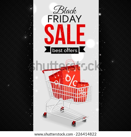 Black friday sale background with photorealistic shopping cart and place for text. Vector illustration. - stock vector