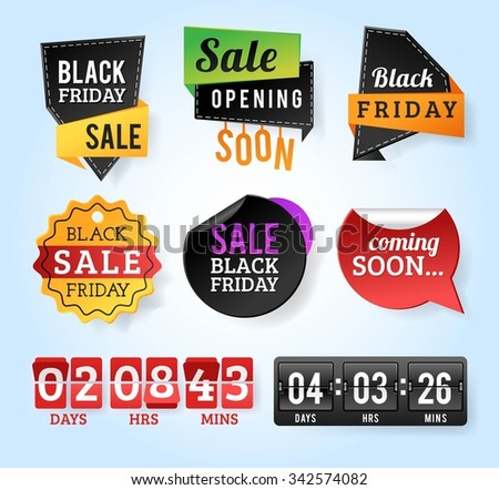 Black Friday sale badges. Black sale banner badge. Christmas sale. New year sale. Vector Black Friday labels set. Price, sale, deal, offer. Sale tag, sale badge. Business promotion coupon, voucher - stock vector