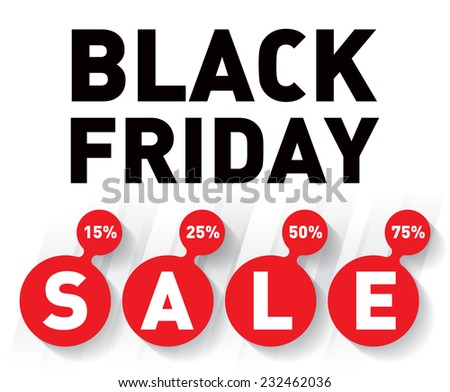Black friday sale banner on white background. Discount card Vector design template. - stock vector