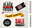Black Friday sale design elements. Black Friday sale inscription labels, stickers. Vector illustration - stock vector