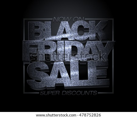 Black friday sale design, super discounts, fashion holiday clearance banner, mosaic text