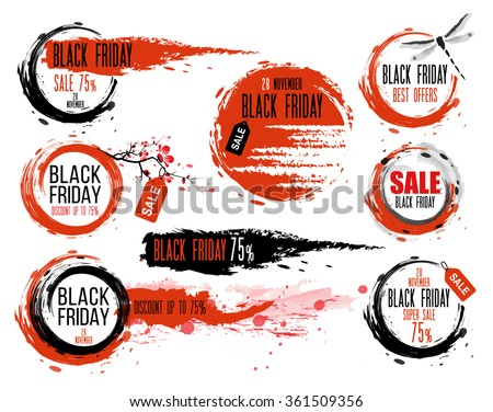 Black Friday sale Hand-drawn ink badges. Traditional Japanese style. Sale Tag. Special offer - stock vector
