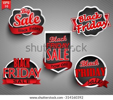 Black friday sale labels set. Vector illustrations. - stock vector