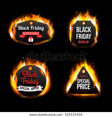 Black Friday Sale paper badges and labels, special prace and special offer. Vector illustration. - stock vector