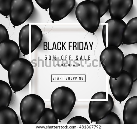 Black Friday Sale Poster Shiny Balloons Stock Vector ...