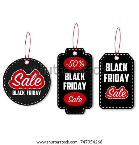 Black Friday Sale Tag Set Template Stock Vector   Shutterstock