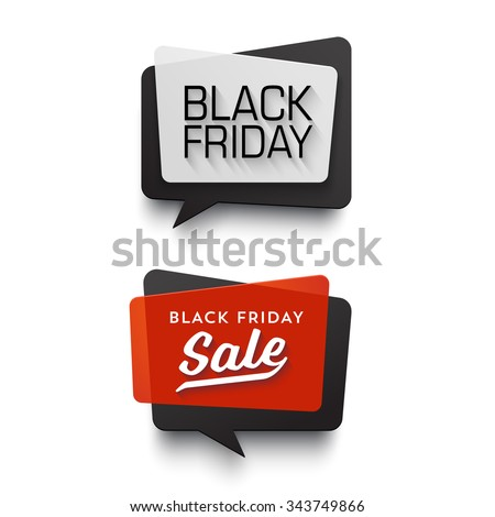 Black Friday Sale vector banner set. Nice plastic cards in material design style. Transparent black, white and red paper. - stock vector