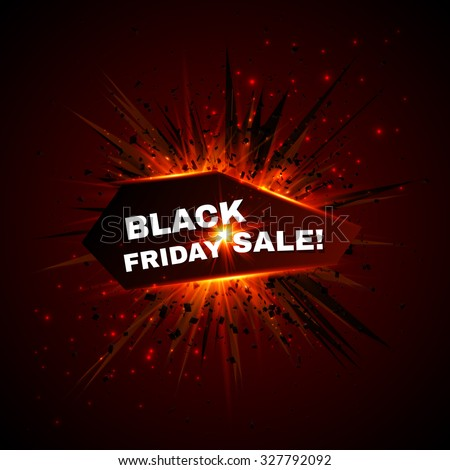 Black friday sale vector banner with explode on background - stock vector