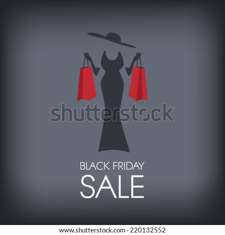 Black Friday shopping poster or flyer with elegant figure shopping. Eps10 vector illustration. - stock vector