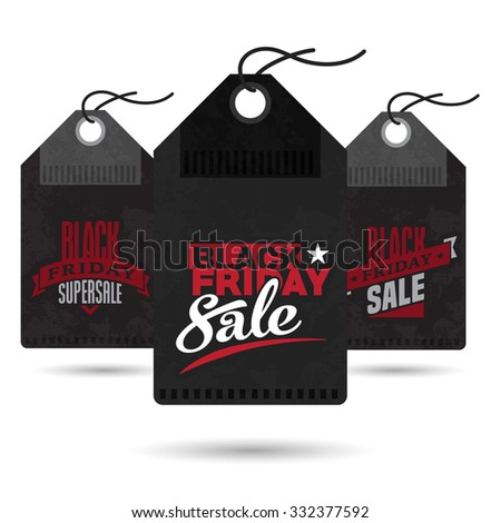 Black friday vector price tag template set for advertising sale print with cool discount  - stock vector