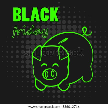Black Friday with pig bank on dark halftone background vector.