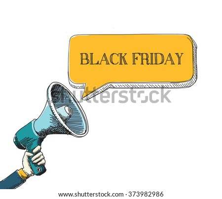 BLACK FRIDAY word in speech bubble with sketch drawing style - stock vector