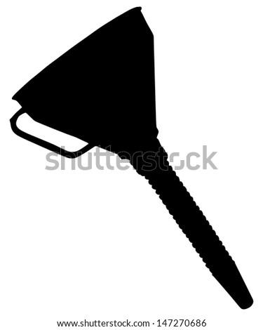Black funnel vector isolated on white background. Plastic funnel on a white background. Horizontal position.  - stock vector
