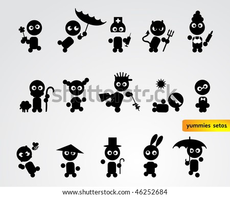 Black funny people icons - stock vector