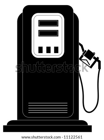 black gas or fuel pump silhouette - vector - stock vector