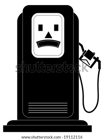 black gas or fuel pump with an unhappy face - illustration - stock vector