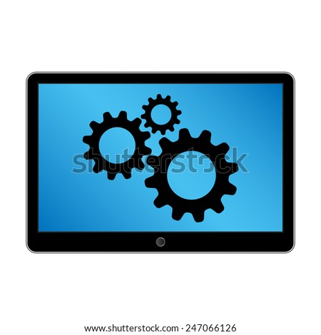 Black generic tablet computer (tablet pc) on white background. Modern portable touch pad device - stock vector
