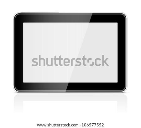 Black generic tablet pc on white background. Vector illustration - stock vector