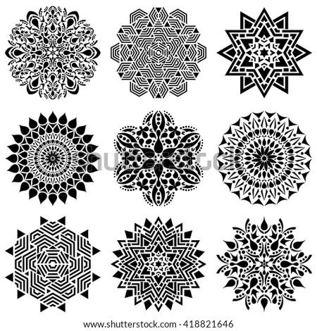 Black geometric abstract mandala vector illustration collection  - stock vector