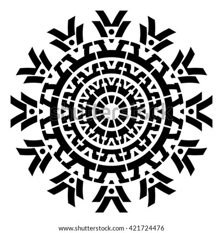 Black geometric abstract round mandala vector illustration - stock vector