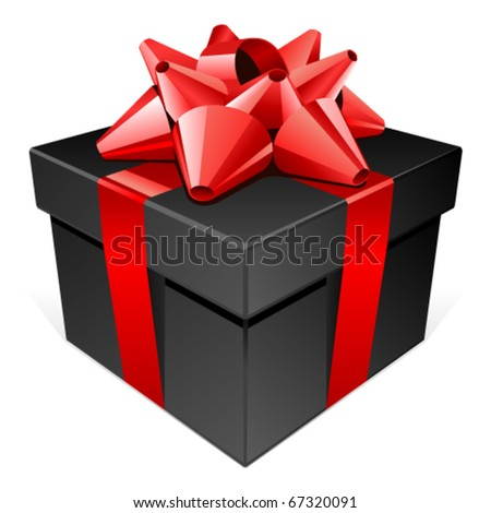 Black gift with red bow vector illustration