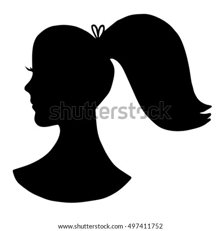 black girl silhouette with ponytail and lashes peoplewoman silhouette isolated on white background