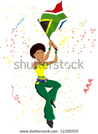 Black Girl South Africa Soccer Fan with flag. Editable Vector Illustration - stock vector