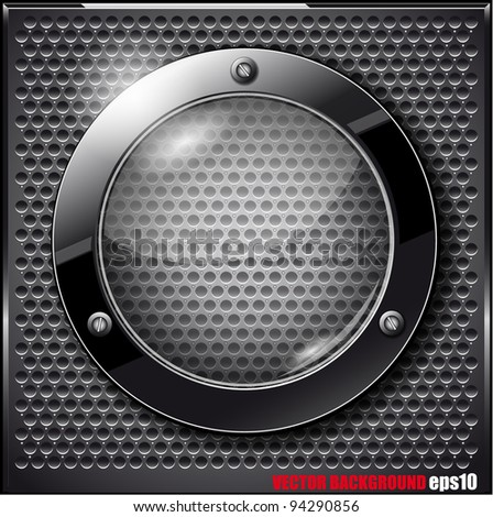 Black glass circle on a metal grid. Vector illustration - stock vector