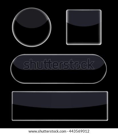 Black, glass, plastic button collection. Vector art. - stock vector