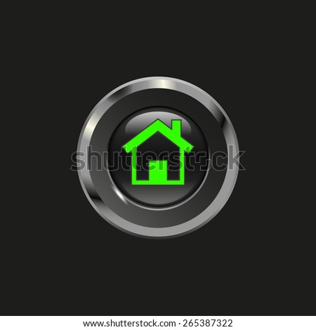 Black glossy button with metallic elements and icon house, on black background, vector design for website - stock vector